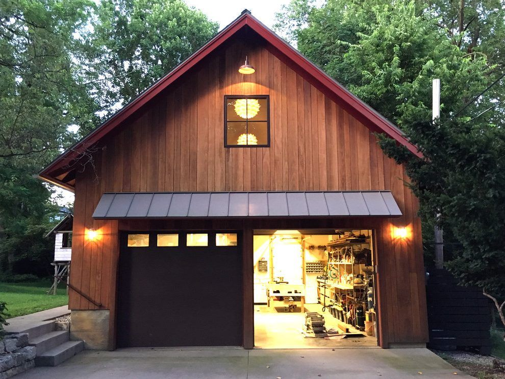 Woodshop Garage Farmhouse With Awning Louisville Heating And Cooling Companies With Images Garage Exterior Garage Door Design Garage Style