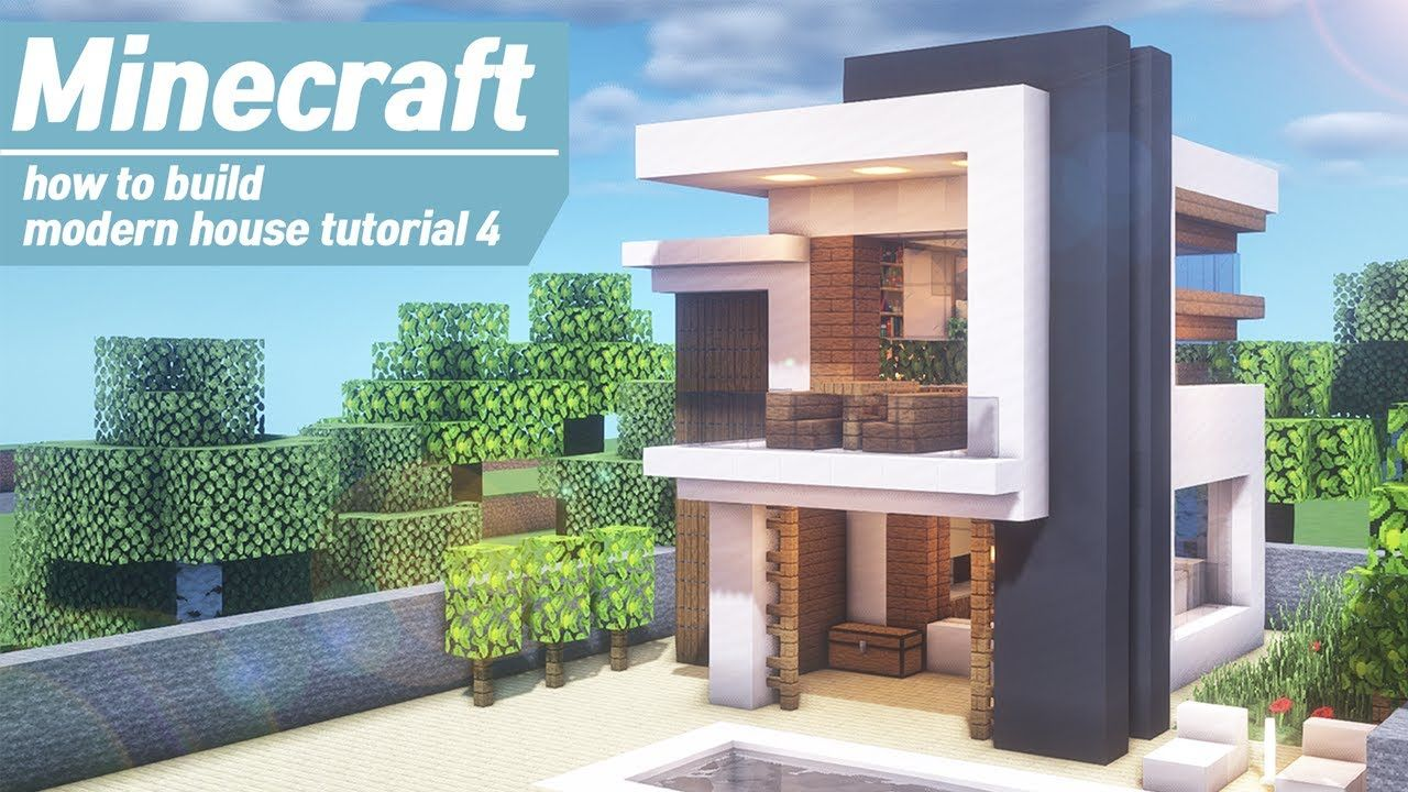 Minecraft : Easy Modern House Tutorial + Interiorl How to ...