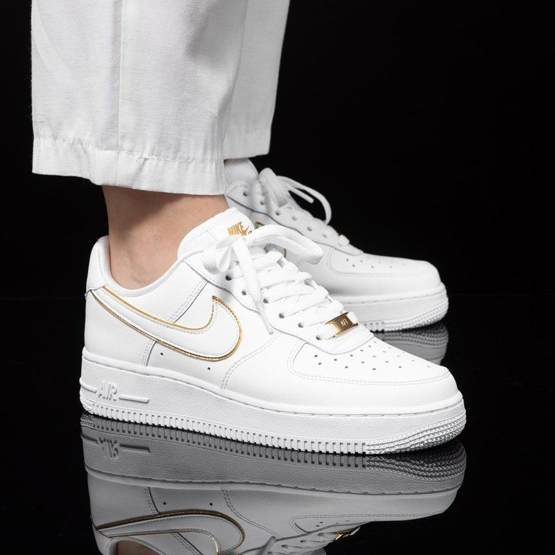 White Nike Air Force 1 07 ESS Metallic Gold Swoosh in 2020 ...