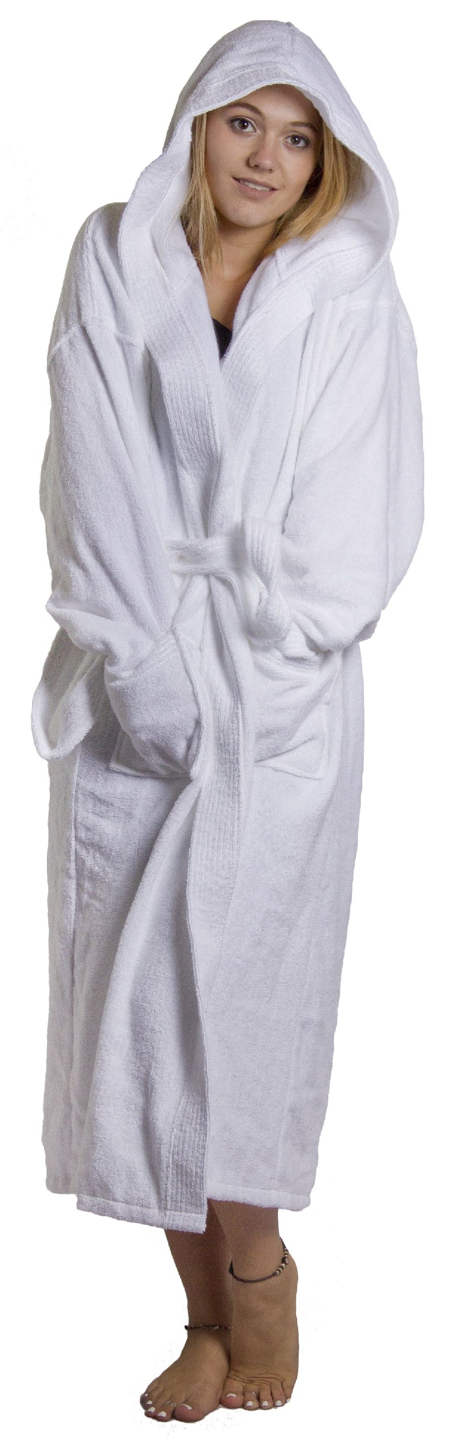 Bathrobe hooded robe 100% cotton plus xl 2xl 3xl 4xl mens ladies ...
