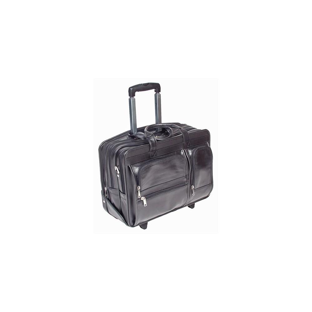17 Leather Detachable Laptop Case on Wheels - Black