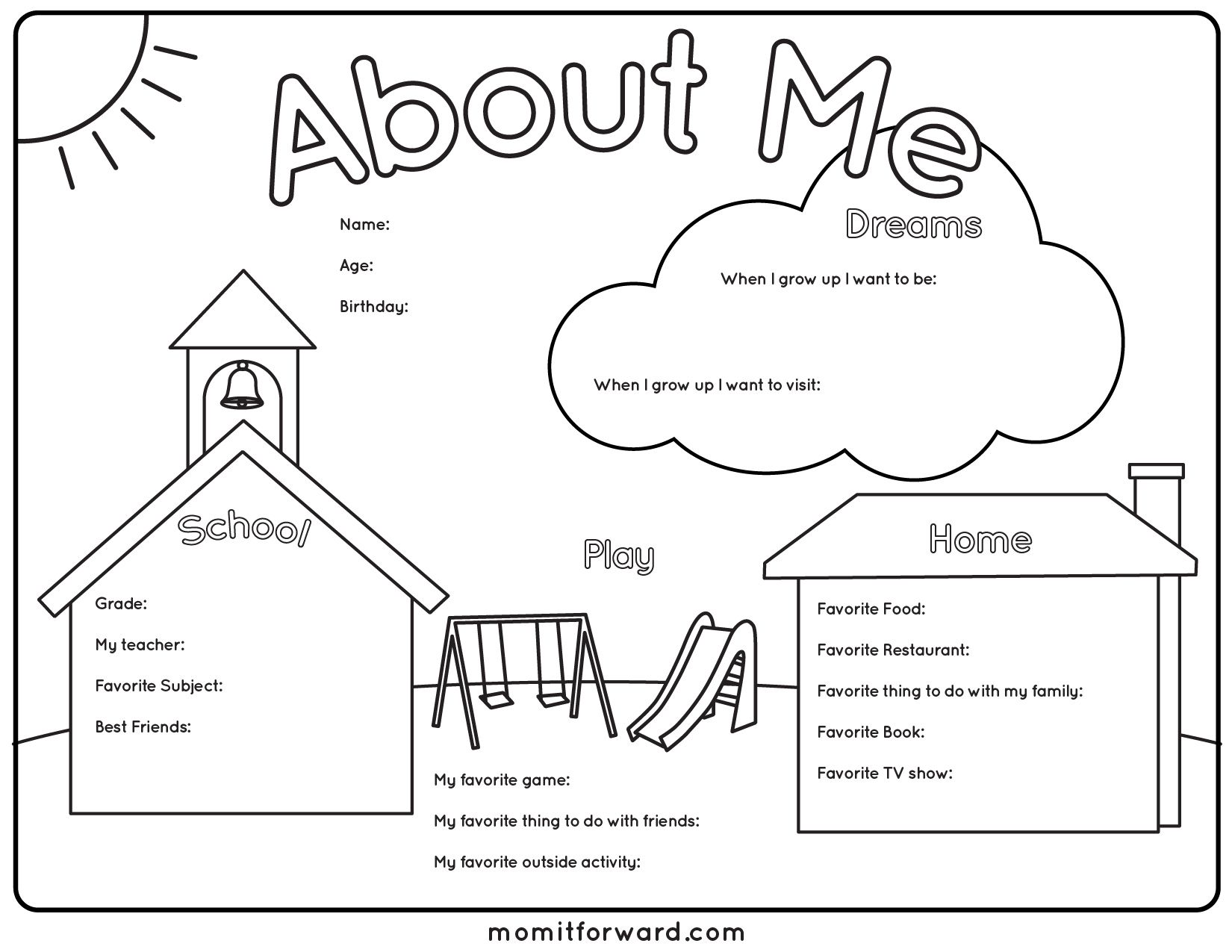 About Me Printable All about me preschool, Family