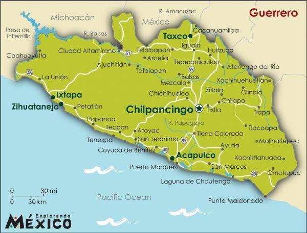 guerrero mexico gallery for mexico state maps guerrero map map of guerrero