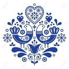 Scandinavian folk art pattern with birds and flowers Stock Vector - 96627186