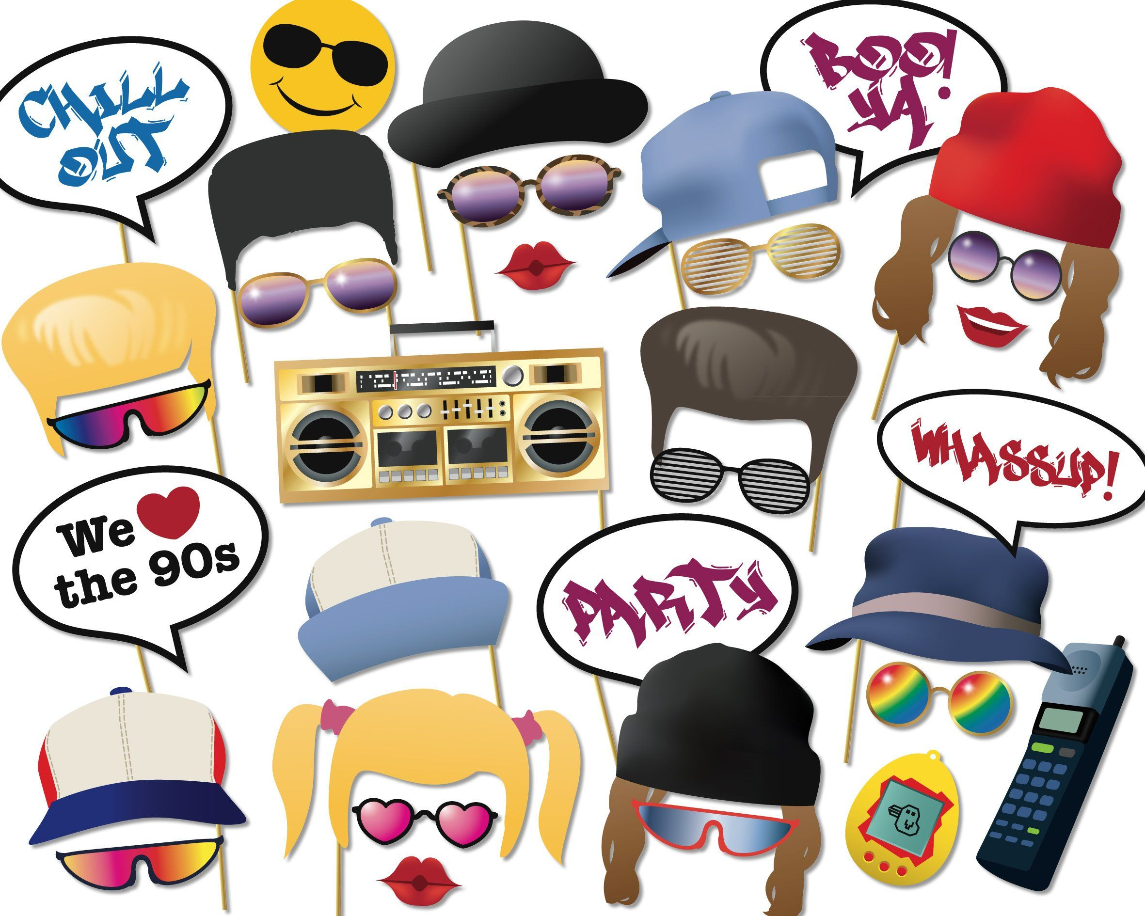 90s Party Printable Photo Booth Props Nineties 90 S Rave Grunge Hip Hop Photobooth Props Instant Digital D Photo Booth Props Party Photo Booth Party Props