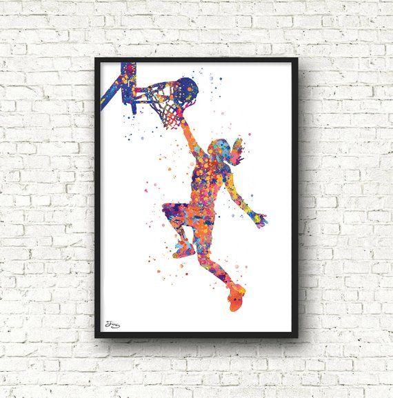 Basketteuse Poster Basketball Art Sport Affiche Idée