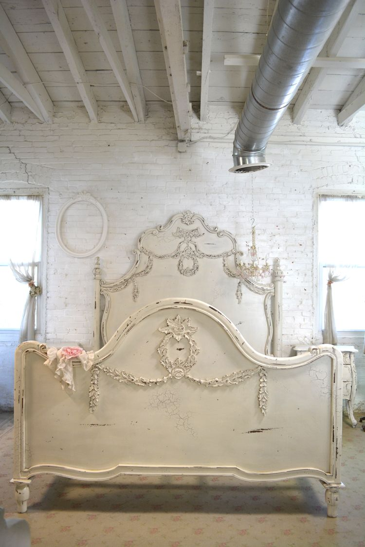 Painted cottage shabby chic french romantic queen king - French shabby chic bedroom furniture ...