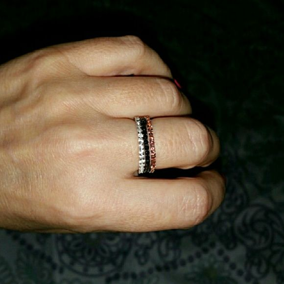 BOGO Genuine Gemstone Eternity Bands 3 Ring Set Beautiful Genuine earth created Gemstone Eternity Bands 3 ring set size 7. Garnet, White Topaz (looks like diamonds) & Black Spinel which look like black diamonds. All very sparkly set in 100% Sterling Silver high polished with white Rodium. The Rodium will keep the silver from tarnishing. These are great to wear together as shown, in addition to another ring or wear one as a ring guard to keep a ring which is to big from falling off. FIRM NO…