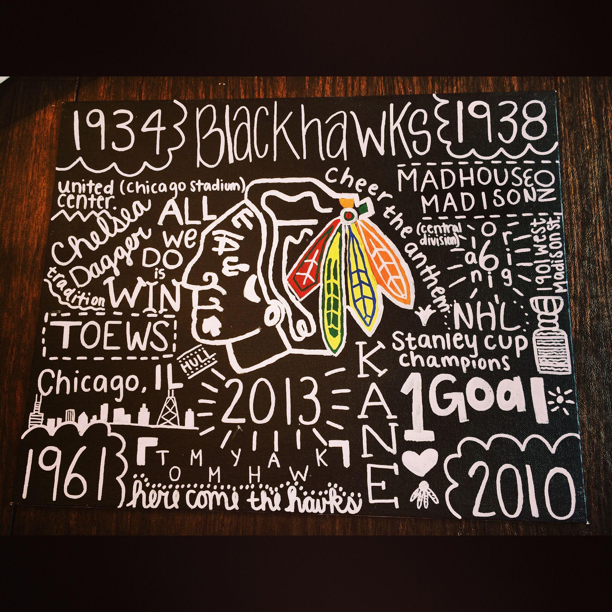 Chicago blackhawks canvas diy   Creative and crafty   Pinterest