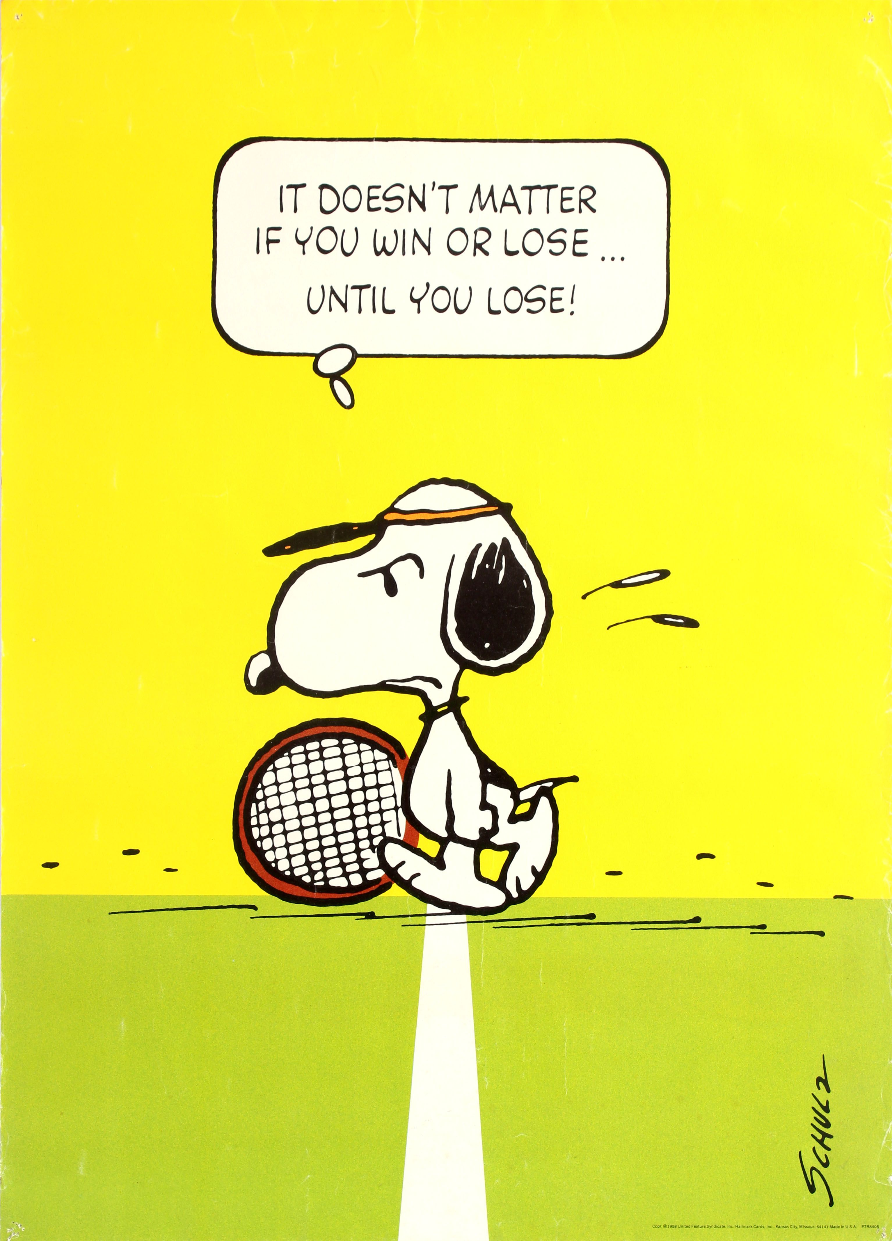 Snoopy Tennis Win Or Lose Schulz 1958 Original Vintage Poster By Charles M Schulz Listed On Antikbar Co Uk Tennis Quotes Funny Tennis Quotes Tennis Funny
