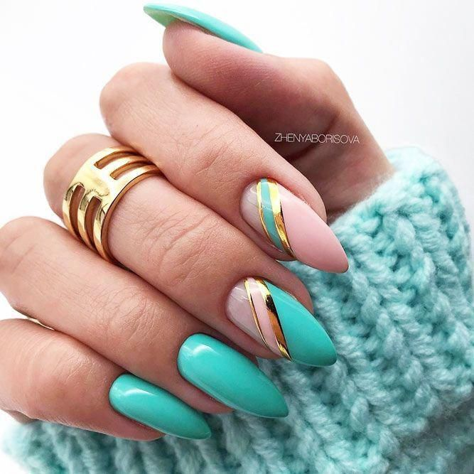 Blue Striped Nails Design #stripedaccent ★ They say summer ...
