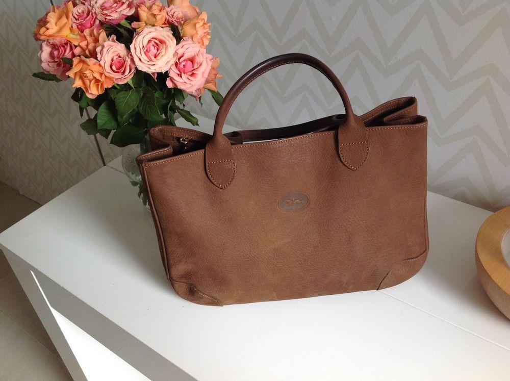 SAC À MAIN Longchamp vintage en toile marron porté