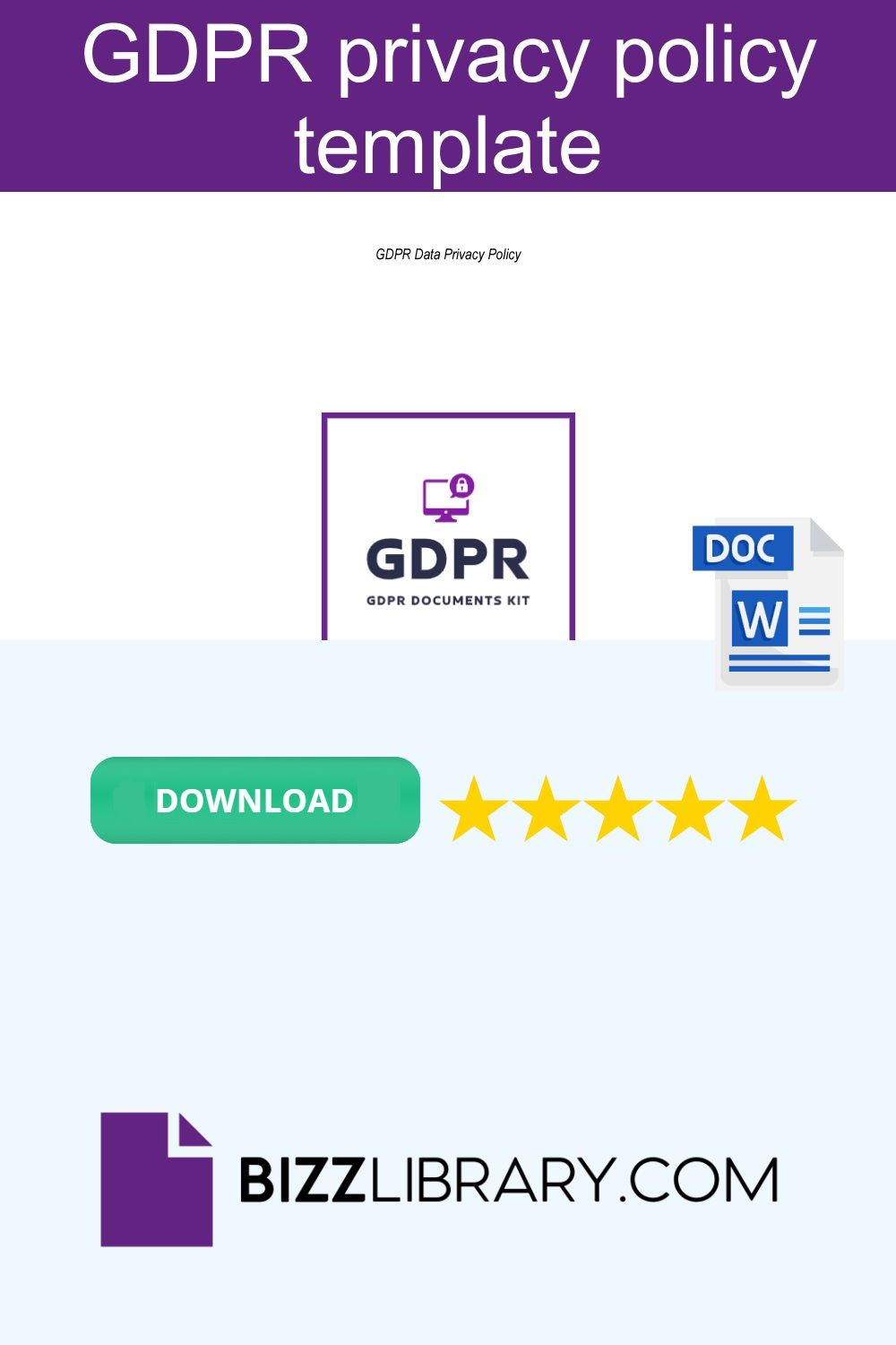 Gdpr Privacy Policy For Your Website In 2020 Policy Template Templates Privacy Policy