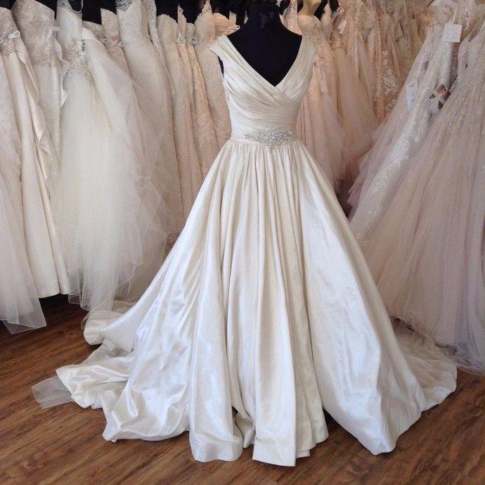 Luxurious Satin Wedding Dresses Ball Gown Wedding Dresses V neck Wedding Dresses  by comigodress, $179.29 USD