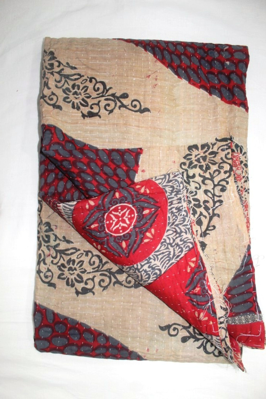 INDIAN BEDSPREAD TAPESTRY BEDDING KANTHA QUILTS BLANKET THROW VINTAGE DECOR ART