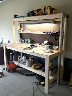 Idea For Workbench W High Shelf Light Attached Lower From Ginger The Huth DIY Work Bench
