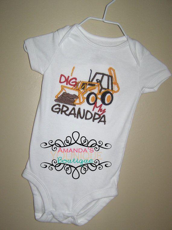 615f4c6b6948 I Dig My Grandpa Custom Embroidered Shirt Boy Girl Grandparent s Day ...