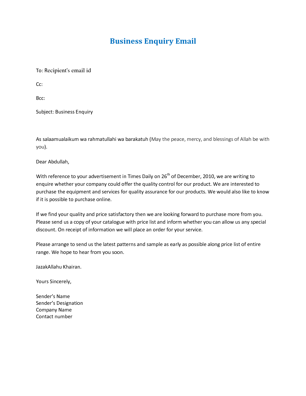 Email Letter Format Formal Business Cover Write With Templates