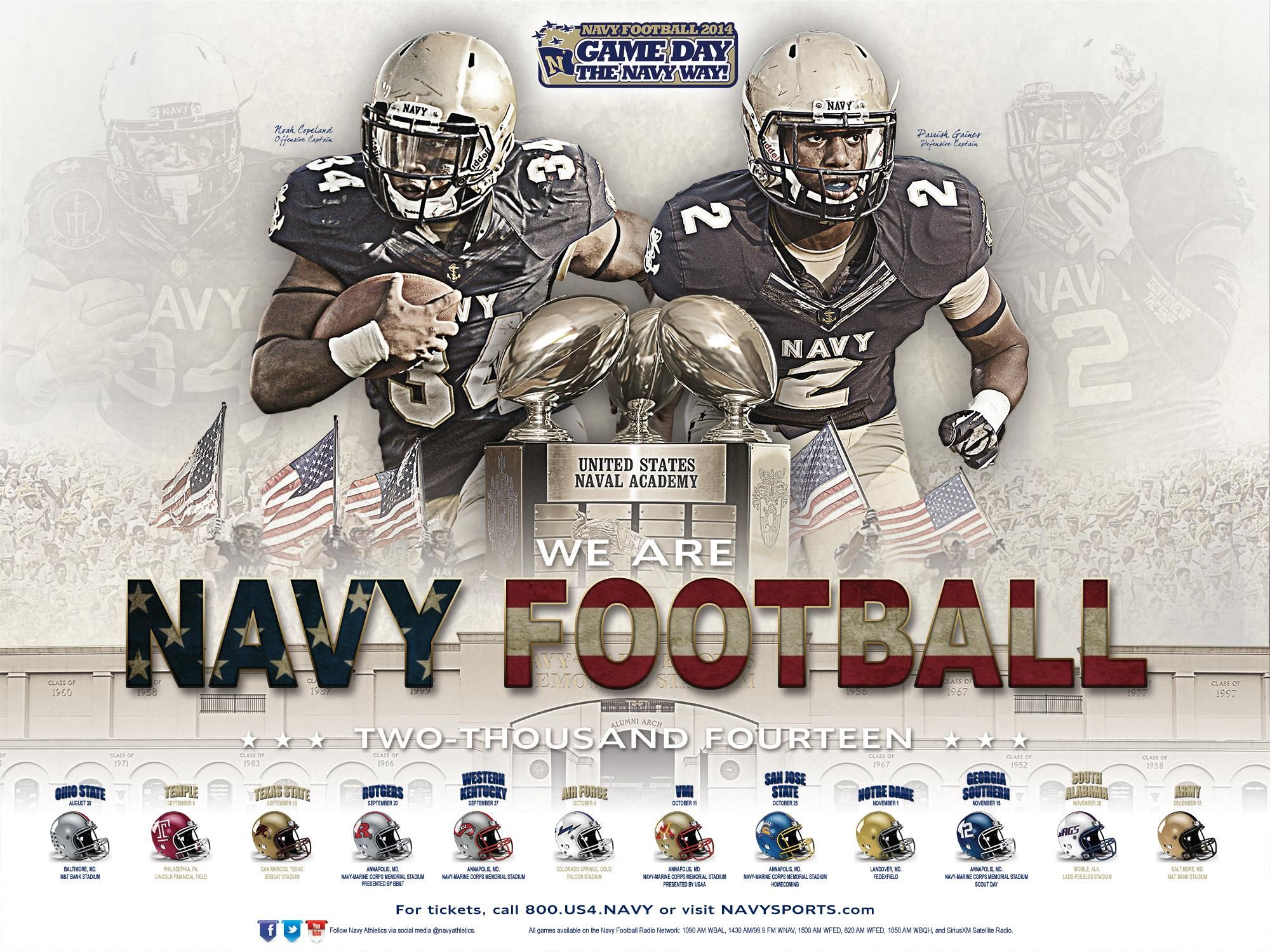 The 2014 Navy Football Poster Go Navy Navy Football Army Football College Football Schedule