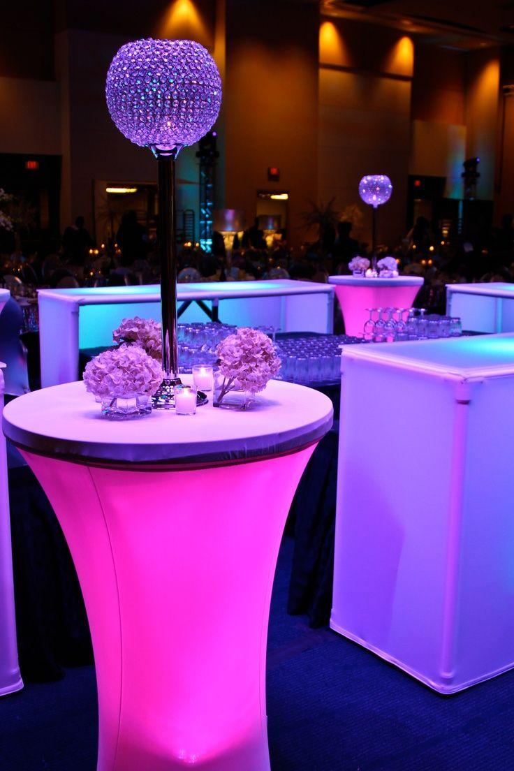 Cocktail Party Decor Ideas Part - 25: Colored Lights Under Cocktail Tables