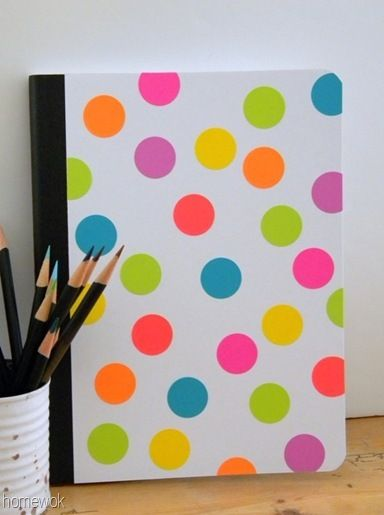 Homework Book Cover Ideas : Neon dotted composition book using astrobrights paper by