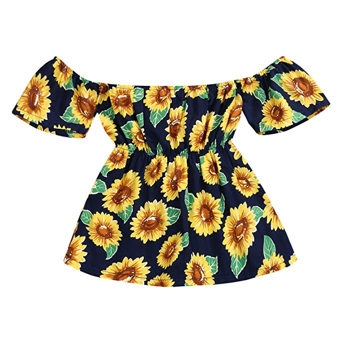 YOUNGER TREE Kid Baby Girl Summer Dress Sunflower Backless Party Pageant Dress Casual Clothes Outfits