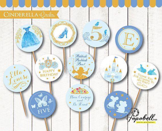 Cinderella Cupcake Toppers for Cinderella Birthday Party.  In 12 designs! DIY Cinderella Circle Tags for Cinderella Party. Digital Printable