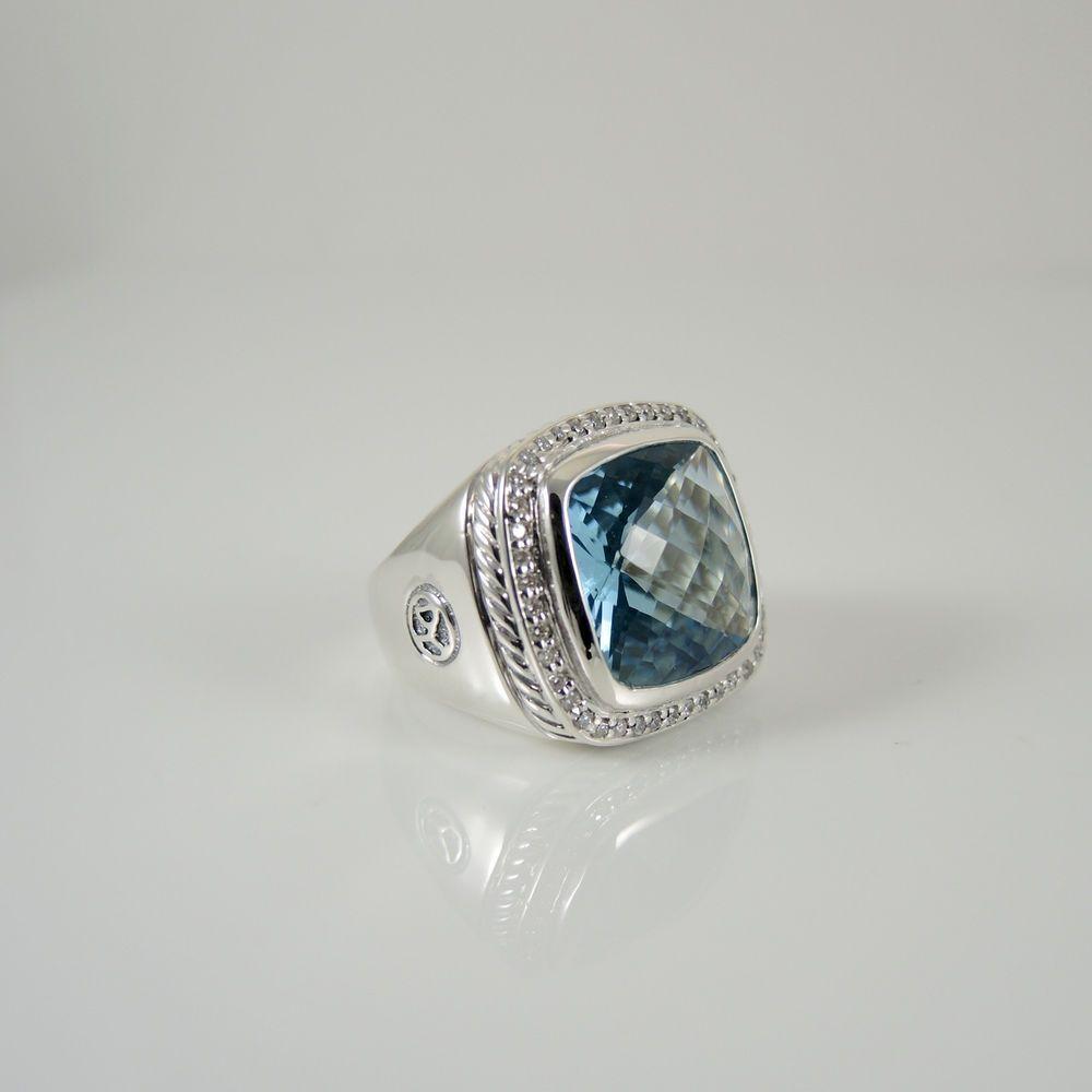 ring david yurman sterling silver 48tcw 15x15mm blue topaz diamond albion