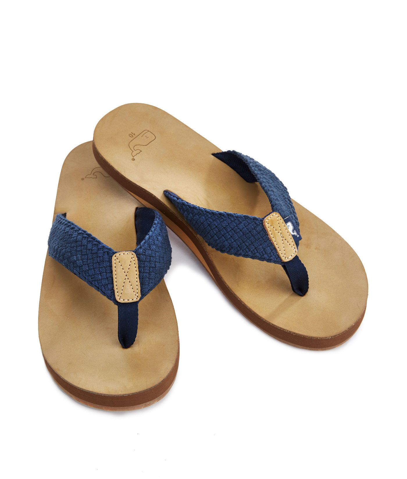 4bd083a409ac Shop Leather with Washed Webbing Flip-Flop at vineyard vines