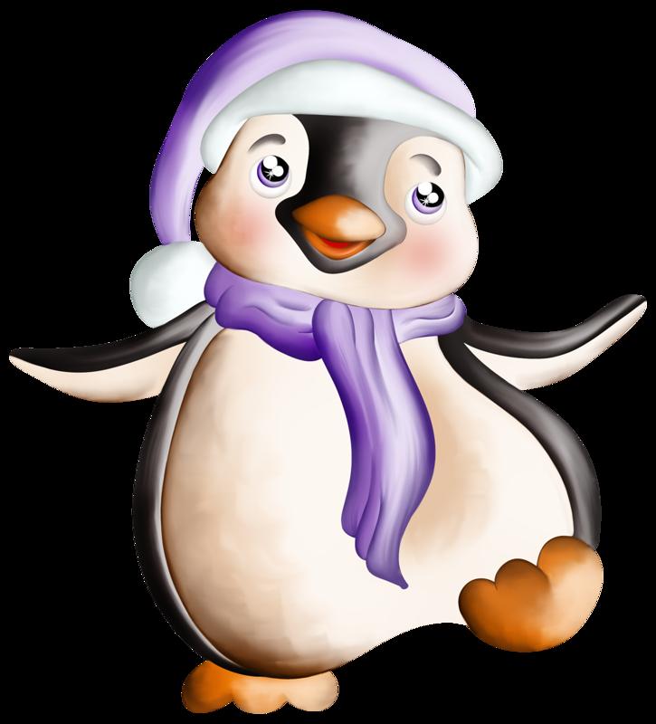 Enchanted Winter Night Penguin clipart, Cute penguins