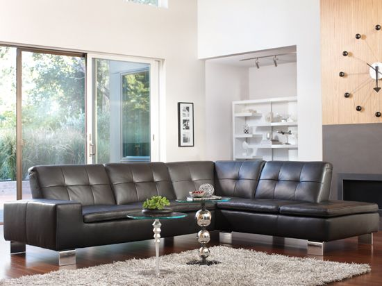 Scandinavian Designs - Sectionals - Francesca Leather Sectional - COMES IN ORANGE LEATHER (CONGAC) : dania sectional - Sectionals, Sofas & Couches