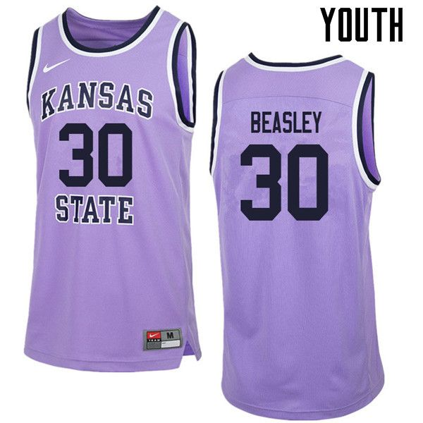 2d5cc6389bd Youth #30 Michael Beasley Kansas State Wildcats College Retro Basketball  Jerseys Sale-Purple