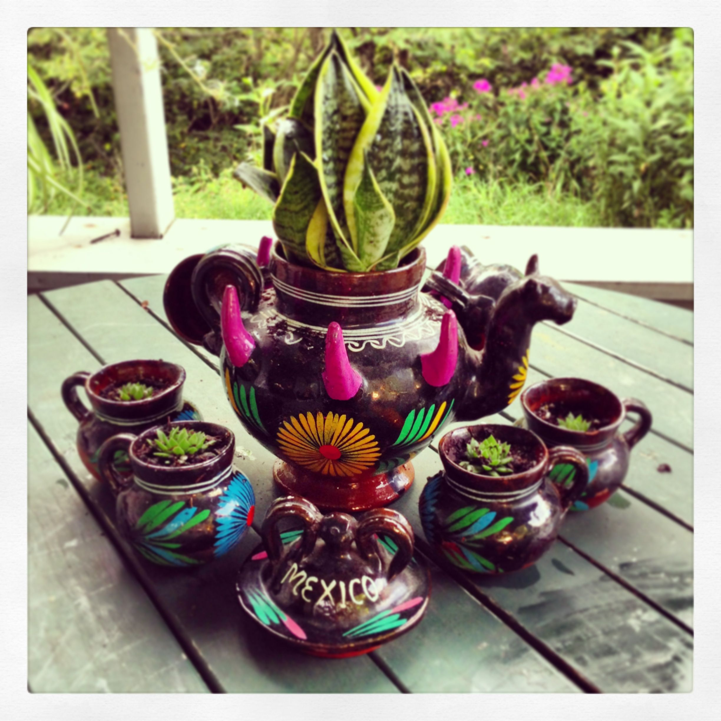 Upcycle Mexican Pottery (tea Set) To Flower Pots! Just Drilled A Few Small