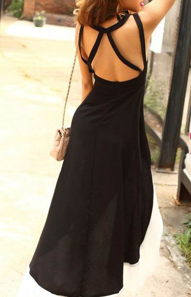 da5a32f3015d9 Black Sleeveless Strappy Backless Contrast Hem High-low Dress -  Sheinside.com