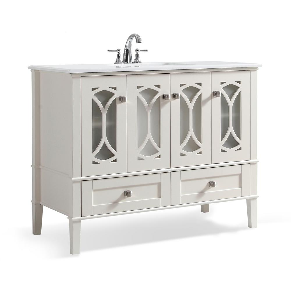 Simpli Home Paige 42 In W X 22 In D X 35 In H Bath Vanity In Soft White With Quartz Marble Vanity Top In White With Basin Axcvpaw 42 Marble Vanity Tops
