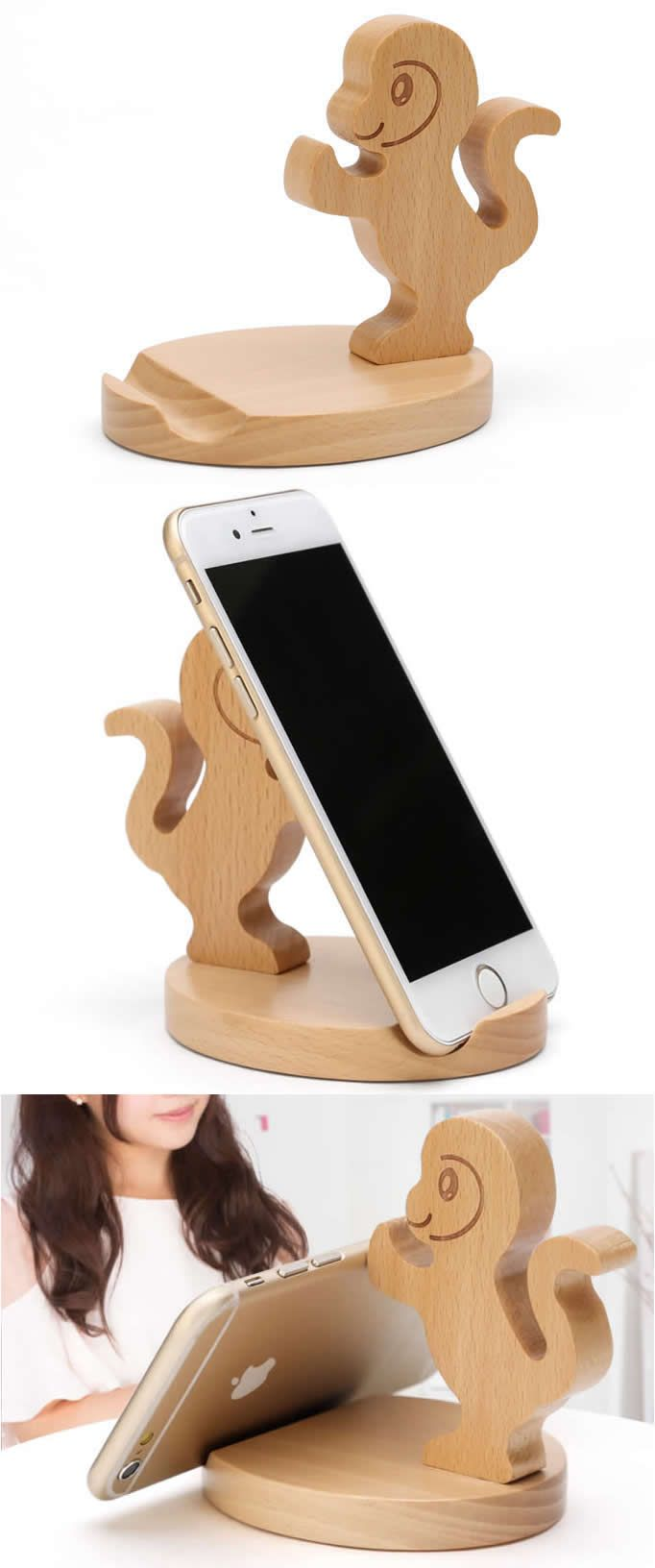Cute Wooden Monkey Cell Phone Tablet Stand
