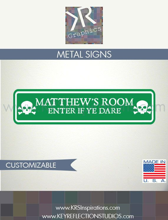 Custom Pirate Bedroom Door Street Sign $14.95 USD
