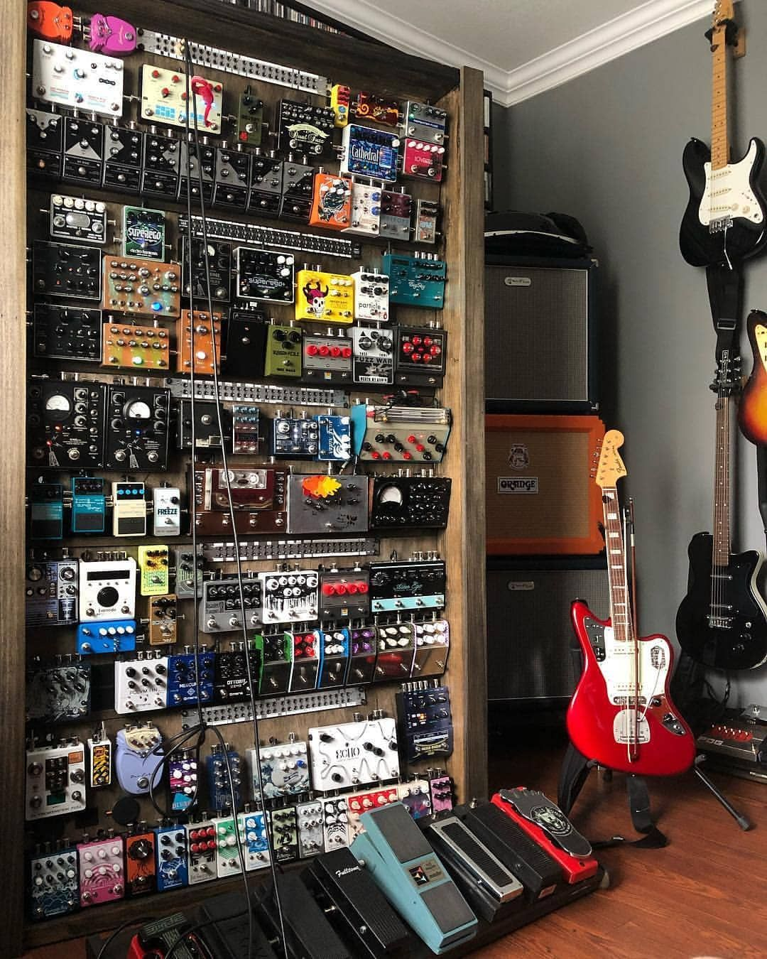 "TopStudioGear on Instagram: ""Who needs a pedal board when you can have a pedal WALL? � � @y_kontrol #musicproduction #studiogear"""