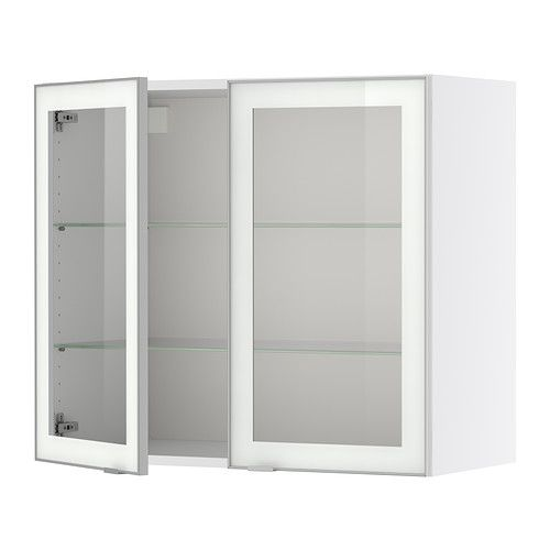 FAKTUM Wall cabinet with 2 glass doors - Rubrik clear glass, 80x70 ... | {Ikea küchen faktum 20}