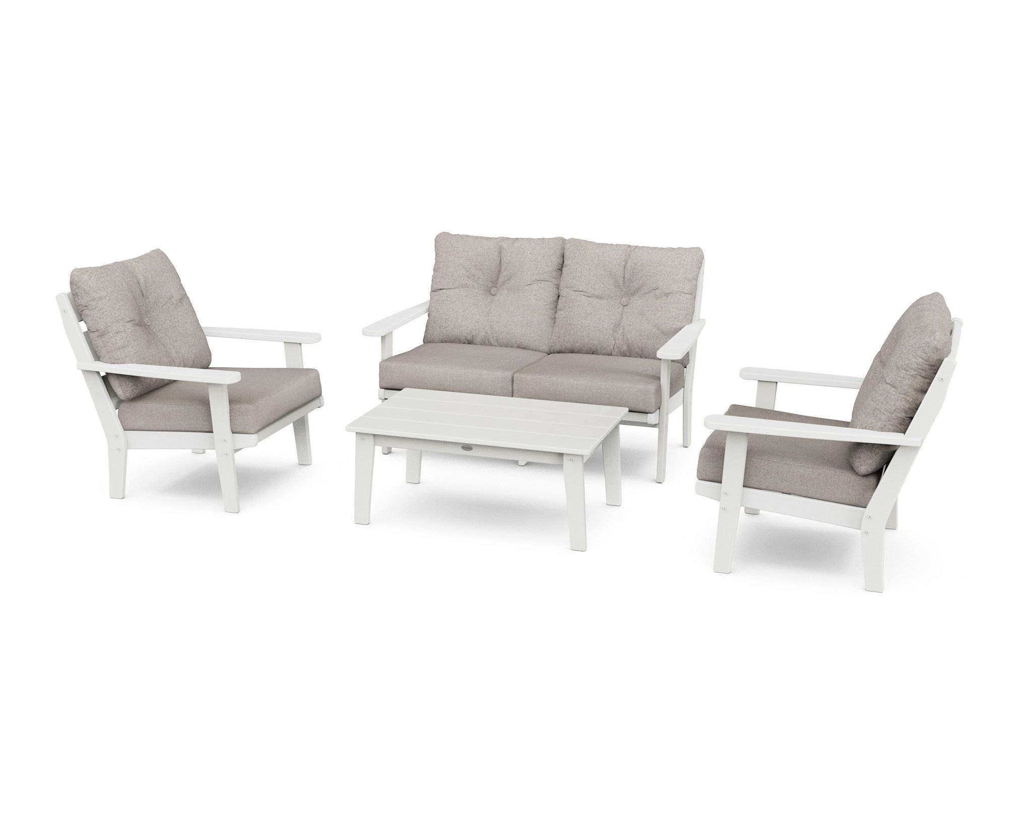 POLYWOOD® Lakeside 4-Piece Deep Seating Set - Vintage White / Weathered Tweed