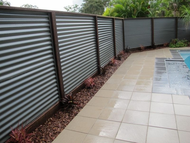 Hardwood Posts And Colorbond Corrugated Iron Fence Backyard