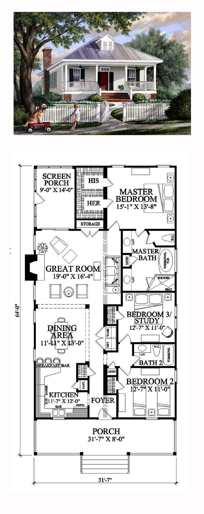 Colonial house plan 57065  Total living space 1643 sq Ft 3 bedrooms and 2 bathrooms