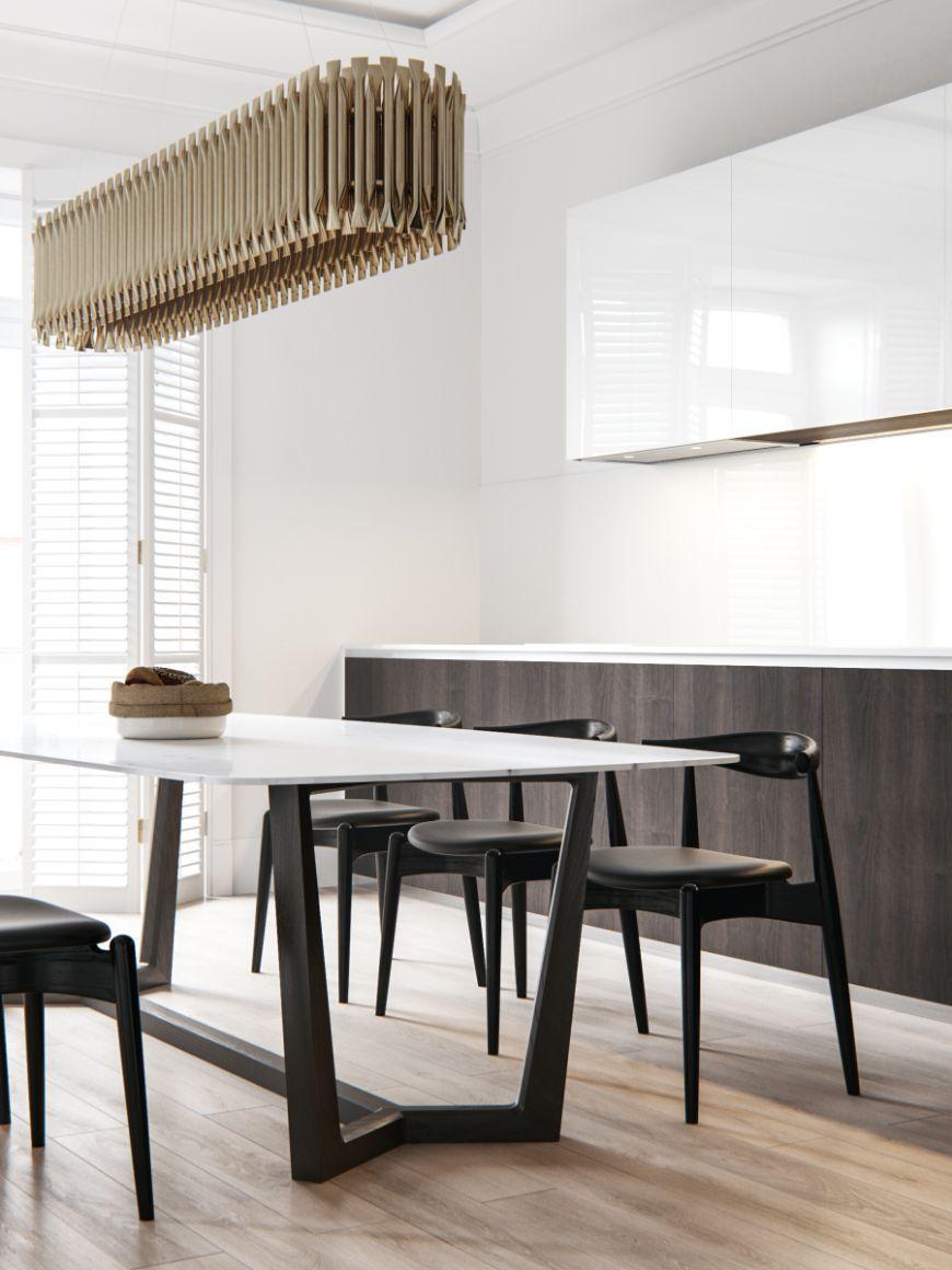 Wohnungseinrichtung, Weiße Einrichtungen, Design Projekte,  Beleuchtungsideen, Gute Ideen, Esstisch, Esszimmer, Mesas