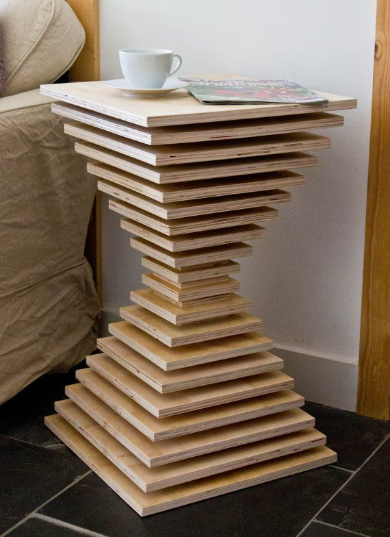 Stacked Plywood Side Table By Manmadefurniture On Etsy Diy