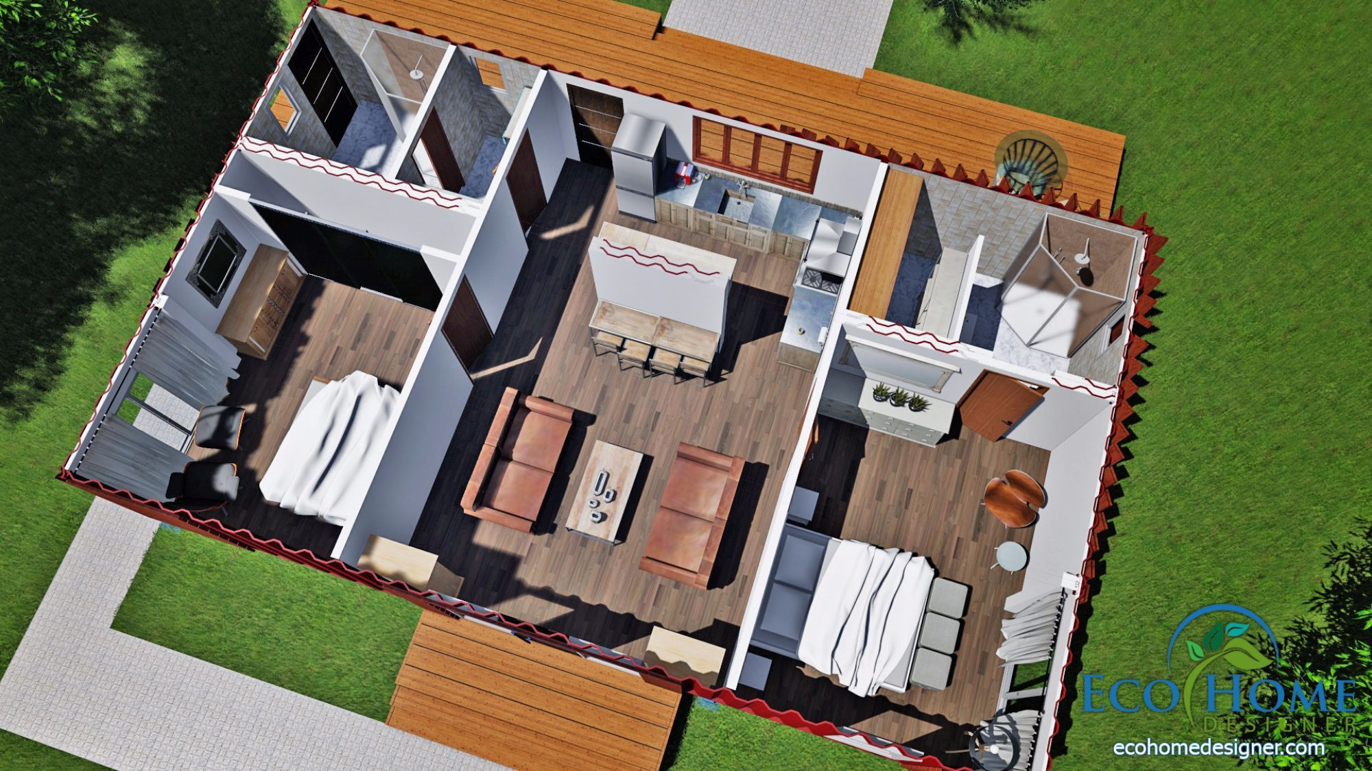 Sch11 3 x 40ft 2 bedroom container home plans container - 40ft shipping container home ...
