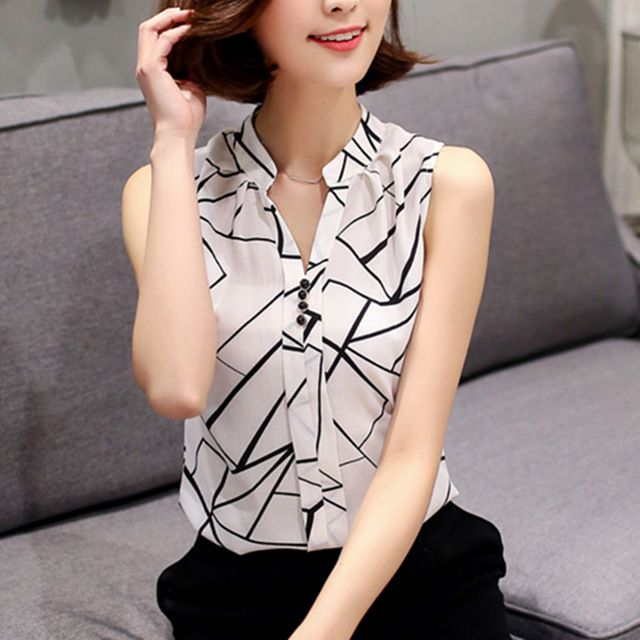 China Shirt Blouses Suppliers Soperwillton New 2017 Summer Chiffon Blouse Women Printed Sleeveless White Top Shirts Female Office Tops