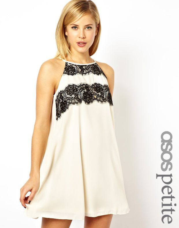 e444e803dc7e ASOS PETITE Exclusive Lace Panel Cutaway Swing Dress | Just My Style ...