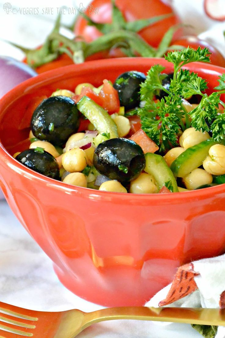 Olive Cucumber Chickpea Salad - leave out the oil.  #health #fitness #vegan #healthyliving