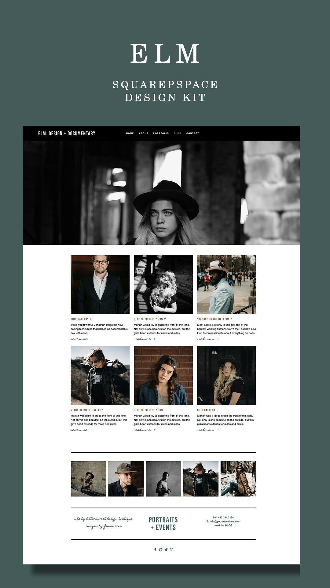 Portait Photographer Squarespace Website Template Elm
