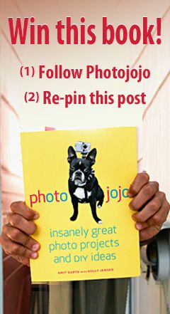 @Kimberly Knight is hosting a give away for us today! All you have to do to win a copy of the Photojojo book full of fun DIY ideas for your photos is follow us on Pinterest by clicking through, then repin and like this image. (You have until the end of the day 8/29 to enter.)